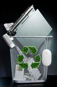 Electronic waste and computers in the recycle bin