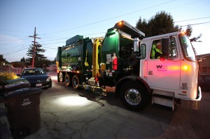 "Waste Managements new ""Green"" Trash removal trucks in Hayward, CA"